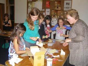Making Mothers' Day gifts at April's Friday Fun Night